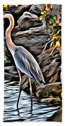 Bird By The Water Beach Towel