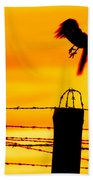 Bird Flying Off From Prison Fence Beach Towel