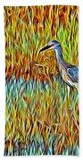 Bird In The Reeds Beach Towel