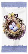 Bird Nest With Daisies Eggs And Butterfly Beach Towel