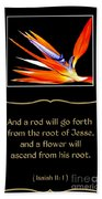 Bird Of Paradise Flower With Bible Quote From Isaiah Beach Towel