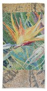 Bird Of Paradise With Tapa Cloth Beach Towel