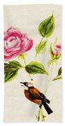 Bird On A Flower Beach Towel