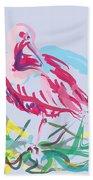 Bird Red Ibis Beach Towel