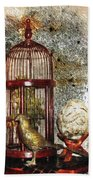 Birdcage Brass Bird And Carved Stone  Beach Towel