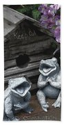 Birdhouse With Frogs Beach Sheet