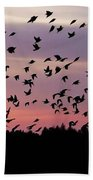 Birds At Sunrise Beach Towel