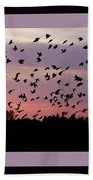 Birds At Sunrise Poster Beach Towel