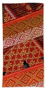 Birds In Rafters Of Royal Temple At Grand Palace Of Thailand  Beach Towel
