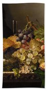 Birds Nest Butterfly And Cherries Beach Towel by Edward Ladell