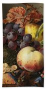 Birds Nest Butterfly And Fruit Basket Beach Towel by Edward Ladell