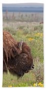Bison In The Flowers Ingrand Teton National Park Beach Towel