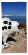 Bison Sculpture Great Salt Lake Utah Beach Towel