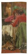 Bistro In Beziers, 2007 Pastel On Paper Beach Towel