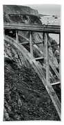 Bixby Creek Bridge Black And White Beach Towel by Benjamin Yeager
