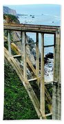 Bixby Creek Bridge Panorama Beach Towel by Benjamin Yeager