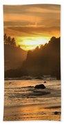 Black And Orange Beach Towel by Adam Jewell