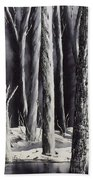 Black And White Forest Beach Towel