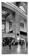 Black And White Pano Of Grand Central Station - Nyc Beach Towel