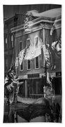 Black And White Photograph Of A Mannequin In Lingerie In Storefront Window Display  Beach Towel