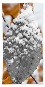 Black And White Snow Leaf Beach Towel