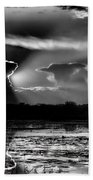Black And White Sunset Over The Mead Wildlife Area Beach Towel