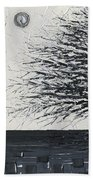 Black And White Snow Cold Winter Tree Beach Towel