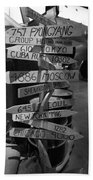 Black And White World Directions Beach Towel