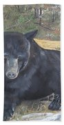 Black Bear - Wildlife Art -scruffy Beach Towel