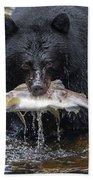 Black Bear With Salmon Beach Towel