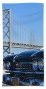 Black Cadillac In San Francisco Beach Towel