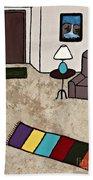 Essence Of Home - Black Cat Entering Living Room Beach Towel