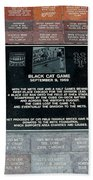 Black Cat Game Beach Towel by Rob Hans
