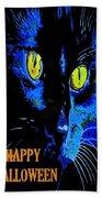 Black Cat Portrait With Happy Halloween Greeting  Beach Towel