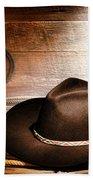Black Felt Cowboy Hat Beach Towel