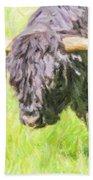 Black Highland Cattle Bull Beach Towel
