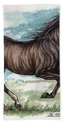 Black Horse Running Beach Towel