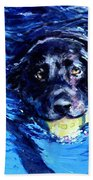 Black Lab  Blue Wake Beach Towel by Molly Poole