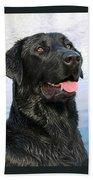 Black Labrador Retriever Dog Smile Beach Sheet