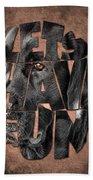 Black Labrador Typography Artwork Beach Towel