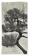 Black Pine Bonsai In Monochrome Beach Towel