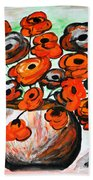 Black Poppies Beach Towel by Ramona Matei
