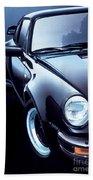Black Porsche Turbo Beach Towel