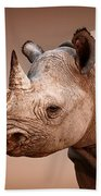 Black Rhinoceros Portrait Beach Towel