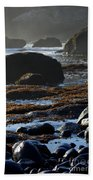 Black Rocks Lichen And Sea  Beach Towel
