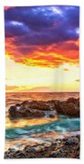 Black Sand Sunset Beach Towel