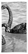 Black Swans - Black And White Textures Beach Towel