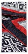 Black Thai Fabric 04 Beach Towel