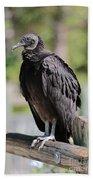 Black Vulture On The Boardwalk Beach Towel