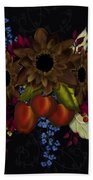 Black With Flowers And Fruit Beach Towel